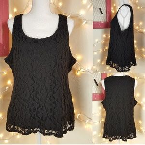 Like New! Lined Sheer Black Lace Blouse